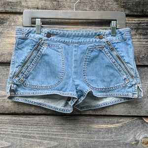 See by Chloe Zipper Bib Hot Pants Jean Shorts